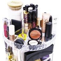 Rotating  Makeup Organiser with Glass Storage Jars